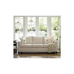 Pottery Barn Cameron Square Arm Upholstered Love Seat, Polyester... ($709) ❤ liked on Polyvore featuring home, furniture, sofas, pottery barn loveseat, square couch, upholstered sofa, pottery barn couch and white love seat