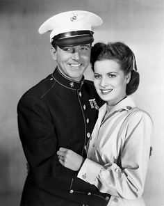 """John Payne and Maureen O'Hara 3 1 Newer Older publicity photo for the 1942 movie """"To The Shores of Tripoli. Old Hollywood Movies, Hollywood Icons, Hollywood Actor, Golden Age Of Hollywood, Vintage Hollywood, Hollywood Stars, Classic Hollywood, Old Movie Stars, Classic Movie Stars"""