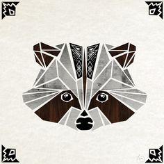 raccoon wood by (procyon lotor, racoon, geometric) Raccoon Art, Racoon, Diy Tattoo, Wildlife Art, String Art, Quilting Designs, Altered Art, Painting & Drawing, Art Drawings