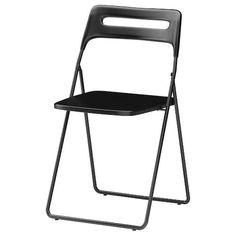 IKEA - NISSE, Folding chair, black, You sit comfortably thanks to the chair's shaped back and seat. You can hang the chair on a hook on the wall to save space. You can fold the chair, so it takes less space when you're not using it. Ikea Patio Furniture, Ikea Dining Chair, Metal Furniture, Ikea Folding Chairs, Plastic Folding Chairs, Ikea Chairs, Bag Chairs, Spring Decoration, Decoration Ikea