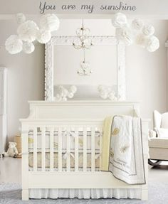 White on white on white. Baby Nursery w pink accents! LOVE THIS STYLE OF  CRIB!!!  #babycook
