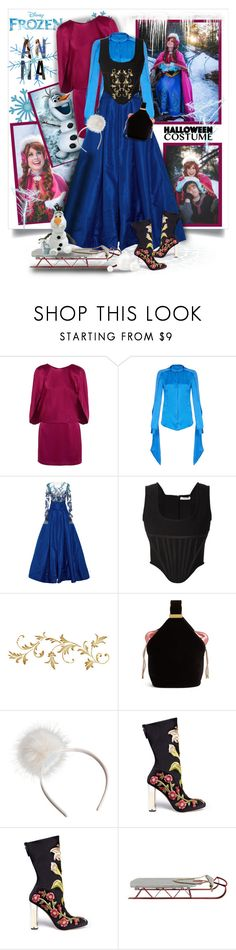 """""""Halloween Costume- Frozen Anna"""" by prettyasapicture ❤ liked on Polyvore featuring Disney, Halston Heritage, Safiyaa, Pamella Roland, Givenchy, Bienen-Davis, Alexander McQueen and Creative Co-op"""