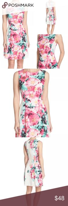 Vince Camuto Pink Green Floral Dress NWT 6 10 Vince Camuto Dress Off White with Pink and Green Floral Pattern 95% Polyester 5% Spandex Lined Gold Back Exposed Zipper Hidden side pockets - perfect for stashing lipstick :) Vince Camuto Dresses