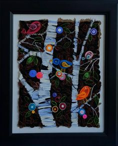 Paper quilled art - white birch trees - birch tree art - mosaic quilled art - quilled mosaic art - quilled trees - quilling art