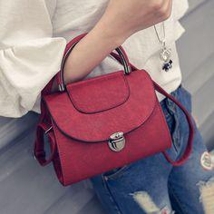 2017 new simple Korean lock bag lady small portable Shoulder Bag summer autumn small Messenger Bag