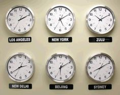 clocks different time zones