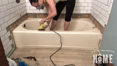 Sand Bathtub Before Painting It Tub Paint, Painting Bathroom Tiles, Painting Bathtub, How To Paint Bathtub, Diy Bathtub, Clean Bathtub, Bathtub Cleaning, Mobile Home Bathtubs, Tile Walk In Shower