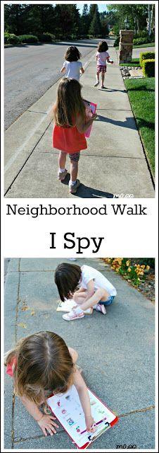 Learn Through Movement - I Spy Neighborhood Walk with Free Printables