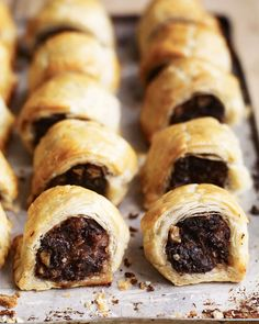 Pork and black pudding sausage rolls - The addition of black pudding, rosemary and walnuts will surely make these easy sausage rolls stand out at any picnic or drinks party. Canapes Recipes, Snack Recipes, Cooking Recipes, Appetizers, Pork Recipes, Picnic Recipes, Savoury Recipes, Pudding Recipes, Sausage Recipes