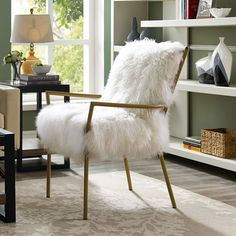 Share and Save $5 Off Any Order Over $99. (excludes a few products) Tov Furniture Lena Sheepskin Chair on Rose Gold Frame #dynamichome
