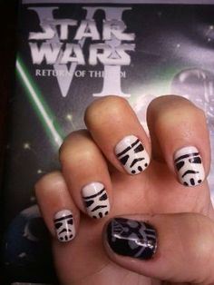 Star Wars Gel Manicure featuring Storm Troopers and Darth Vader.  Freakin' Awesome.