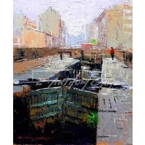 LOCKS AT CASTLEFIELD MANCHESTER Fine Art Print from a painting by E Anthony Orme