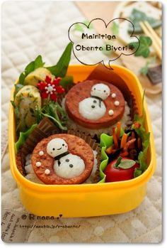 Snowman bento...just translate page for how to instructions