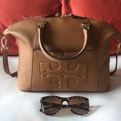 Tory Burch Medium Bombe T' Satchel in Bark and Sunglasses