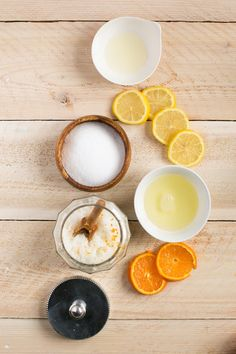 Exfoliating (Naturally Antibacterial) Sea Salt Hand Scrub.  1 cup fine sea salt, ⅓ cup light oil (almond or sunflower), 1 tablespoon Castile soap, ½ teaspoon tea tree essential oil, 10-15 drops peppermint essential oil, 1 teaspoon grated lemon or orange peel, Squeeze of fresh lemon or orange juice, INSTRUCTIONS   Combine ingredients in a container with a lid and keep by the sink.