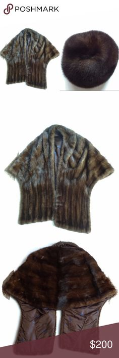 Vintage Brown Real Mink Hat & Shawl Marshalls HOST Price is FIRM. In excellent condition. Some of the stitches are loose in the inside pockets and need to be sewn. The hat comes with 2 small combs on the inside in order to comb the fur. There is a blue feather pattern on the inside of the shawl.  The shawl measures 29 in. across at it's widest point and is 29 in. long. HOST PICK! Marshall Fields Company Accessories Scarves & Wraps