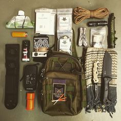 Vehicle bug out bag utilizing our tactical sling bag. Costs little, holds a lot. Food, water, shelter and security call covered here.