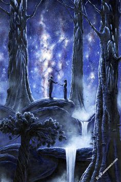 She spoke no word; but being filled with love Elwë came to her and took her hand, and straightway a spell was laid on him, so that they stood thus while long years were measured by the wheeling stars above them; and the trees of Nan Elmoth grew tall and dark before they spoke any word.