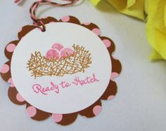 10 Bird's Nest Baby Tags...Girl Baby Shower Favor Tags/ Baby Tags/Gift Tags/Pink/Baby Girl/ It's a Girl Baby Tag/ Thank You Tag