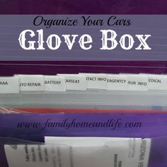 "Family Home and Life: Organize Your Cars Glove Box / I'm SO doing this today, after my disaster at the auto shop with my ""key"" for my tire lug nuts. Household Organization, Life Organization, Organization Station, Car Cleaning, Cleaning Hacks, Assurance Auto, Car Hacks, Organizing Your Home, Organizing Tips"