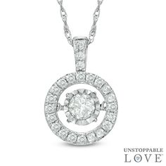 Unstoppable Love™ 1/8 CT. T.W. Diamond Frame Pendant in Sterling Silver - View All Necklaces - Zales