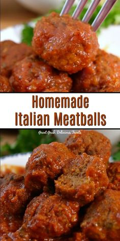 Meatballs are savory, full of flavor, tender and scrumptious. Italian Meatballs are savory, full of flavor, tender and scrumptious. Best Ever Italian Herb Baked Meatballs are the perfect recipe to learn how to make meatballs the right way. Crock Pot Recipes, Meat Recipes, Cooking Recipes, Recipies, Homemade Italian Meatballs, Homemade Meatballs Crockpot, Best Italian Meatball Recipe, Italian Sausage Meatballs, Crock Pot Meatballs