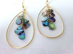 Abalone Shell Earring - Paua Shell Earring -Teardrop Hoop Dangle Earring - Shell Jewelry - Beach Jewelry - Elegant Blue Abalone Earring