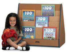 Jonti-Craft 3508JC340 Sproutz PickaBook Stand Sided Kids Bookcase by Jonti-Craft. $233.50. Formaldehyde-free adhesive system. CHPS compliant - California section 01350 approved. Edgebanding in four colors. KYDZSafe edges. 4. Color:Black Sproutz Pick-a-Book Stand - 1 Sided.   Four cascading shelves in aneco-friendly book stand.  Display big books in back.  Made with 100% recycled wood fiber.  Promotes better indoor air quality.  May help contribute to five LEED credits.  Edgeban...