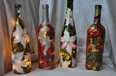 Lighted wine bottles for the or the Holidays!!!