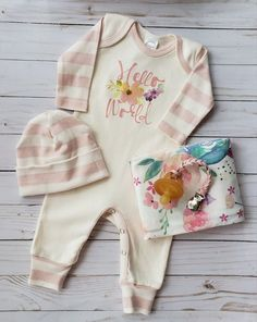 Newborn Girls Feather Print Sleeping Gown Swaddle Sack Coming Home Outfit+Cap