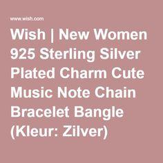 Wish | New Women 925 Sterling Silver Plated Charm Cute Music Note Chain Bracelet Bangle (Kleur: Zilver)
