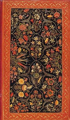 The Ottoman love of flowers in reflected in the arts of the book, including bindings. Early lacquered bindings were decorated with stylised flowers, while in later examples the flowers are more naturalistically drawn. Lacquered binding.