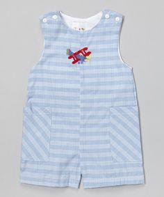 Loving this Blue Plaid Airplane Shortalls - Infant & Toddler on #zulily! #zulilyfinds