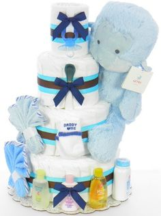 Blue Monkey Diaper Cake Monkey Diaper Cakes, Baby Shower Diapers, Little My, Fun Projects, Crafts For Kids, Happy Birthday, Joy, Crafty, Children