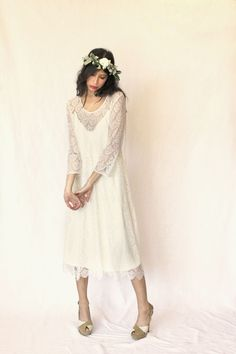 Stone Fox Bride Luisa lace sheath dress on Pam Love and silk flower crown http://www.stonefoxbride.com/shop-veils-crowns/