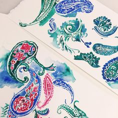 Perfect paisleys ✨ #watercolor #drphmartins #paisley #printstudio #textiledesign #printfresh