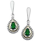 14k Gold and Sterling Silver Earrings, Emerald (3/8 ct. t.w.) and Diamond Accent Teardrop Earrings