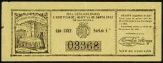 Bitllet de loteria per recaptar diners en benefici de l'Hospital de la Santa Creu de l'any 1882. (Biblioteca de Catalunya)