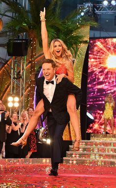 Ready to rumble! Hot on her heels was soap star Gemma Atkinson, who enthusiastically perched herself on Brian Conley as they made their way down the ramp Brian Conley, Alexandra Burke, Gemma Atkinson, Ready To Rumble, Mollie King, Soap Stars, Strictly Come Dancing, Way Down, Product Launch