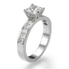 14K White Gold Ring Sidestones