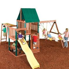 Swing n slide summer fun swing set with playhouse and for Build your own wooden playset