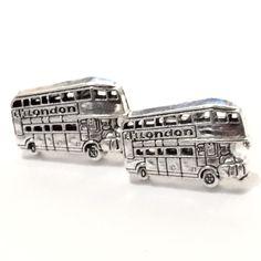 Silver Double Decker Bus Cuff Links, Mens London Cufflinks Groom Wedding Guy Prom Public Transportation Tourist Travel Man Gift from my Etsy shop https://www.etsy.com/listing/477886009/silver-double-decker-bus-cuff-links-mens