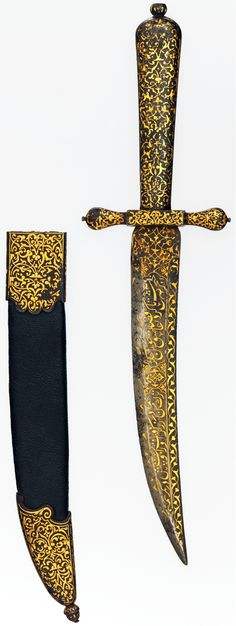 "Dagger, Ottoman blade (mid-16th c), European hilt and scabbard (1600–1650?), steel damascened with gold, L. 10 3/8 in. (26.34 cm), Met Museum. Indo-Persian blades were valued in Europe, they were exported and mounted with European hilts. This blade has been fitted with a hilt and sheath damascened with gold arabesques of Middle Eastern inspiration. Inscribed:""It is a dagger since it attempted [to take] the life of the unfaithful lover. My Turk took it [wrapped in gold] and bound it to his…"