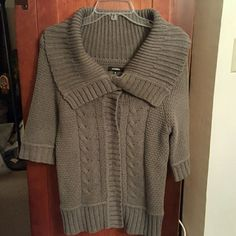 Express sweater euc Sz medium,  gray, cable knit, snap front, sleeves to elbow Express Sweaters Cardigans