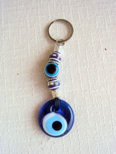 Keychain with Nazar and Luck Bead Gift Ideas Blue Glass Turkish Evil Eye Keychain by sebsurer