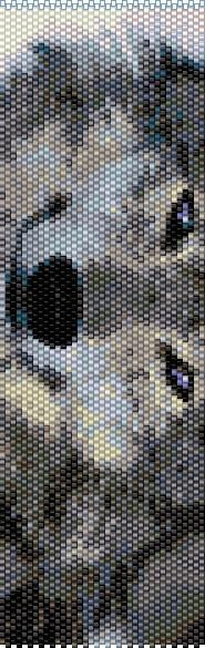 BWOL0001 Wolf 1 Even Count Single Drop Peyote Cuff/Bracelet Patter