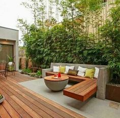terrace ideas garden bamboo plants privacy concrete wood bench table terrace ideas garden bamboo plants privacy concrete wood bench table The post terrace ideas garden bamboo plants privacy concrete wood bench table appeared first on garden design ideas. Backyard Design, Hardscape, Small Backyard, Terrace Design, Patio Design, Modern Deck, Concrete Wood Bench, Modern Garden
