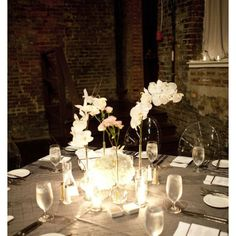 Table linens, flowers, candles