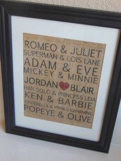 Famous Couples Burlap Print...Valentine's Day gift - 25+ Sweet Gifts for Him for Valentine's Day - NoBiggie.net