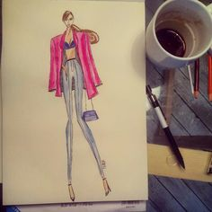 Fashion Sketch women denim & blazer #fashion #design